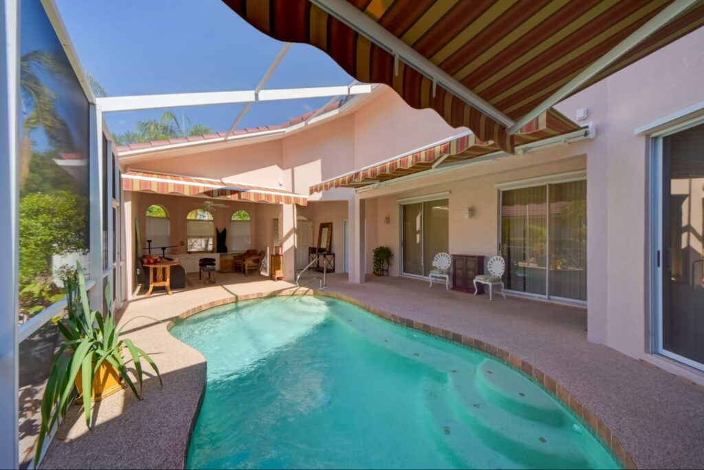 patio with retractable awning, clean with garden hose and mild soap. use a soft-bristled brush tampa, florida, retractable awning | sun protection